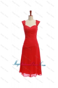 Exquisite Short Ruching and Appliques Bridesmaid Dresses in Red