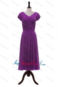 Most Popular V Neck Pleats Bridesmaid Dresses in Eggplant Purple