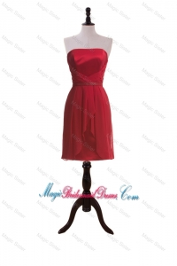 New Style Short Wine Red Prom Dresses with Ruching