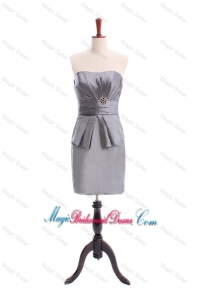Simple Beading Short Grey Bridesmaid Dresses in Grey