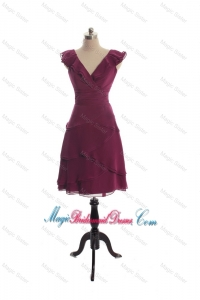 The Super Hot V Neck Burgundy Short Bridesmaid Dresseswith Ruffles