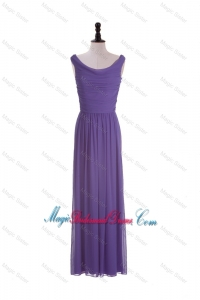 2016 Most Popular Scoop Eggplant Purple Bridesmaid Dresses with Ruching