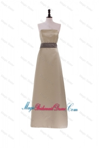 2016 New Style Column Strapless Brown Long Bridesmaid Dresses