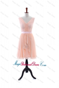 2016 Summer Empire V Neck Bridesmaid Dresses with Ruching and Belt