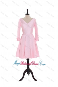 Custom Made A Line V Neck 3/4 Length Sleeve Bridesmaid Dresses in Baby Pink
