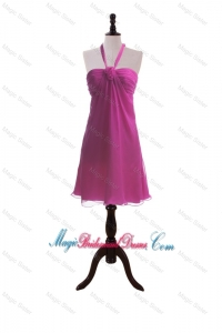 Custom Made Hand Made Flowers Fuchsia Short Bridesmaid Dresses