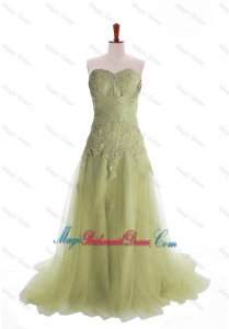 Luxurious Appliques Brush Train Long Bridesmaid Dresses in Olive Green