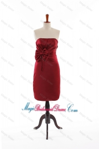 Modest Bowknot Short Bridesmaid Dresses in Wine Red