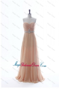 Most Popular Beading Long Bridesmaid Dresses in Peach for 2016 Summer