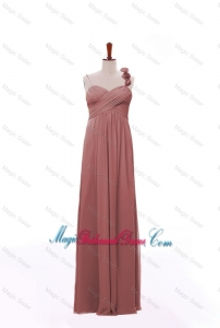 New Arrival Spaghetti Straps Hand Made Flowers and Ruching Bridesmaid Dresses