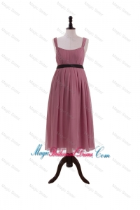 New Arrival Straps Short Bridesmaid Dresses with Belt and Bowknot