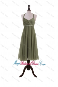Simple Belt Halter Top Short Bridesmaid Dresses in Olive Green