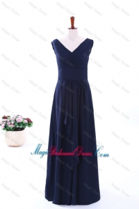 Simple Empire V Neck Bridesmaid Dresses in Navy Blue
