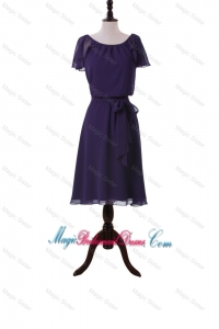Simple Short Purple Bridesmaid Dresses with Sashes and Ruffles