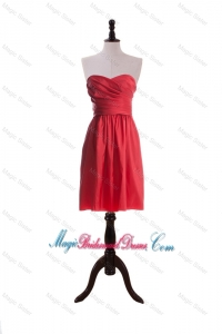 Simple Sweetheart Short Ruching Bridesmaid Dresses in Red for 2016
