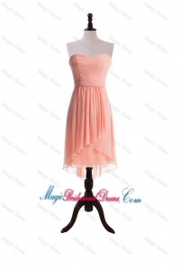 Watermelon Red Sweet Short Bridesmaid Dresses with Sashes
