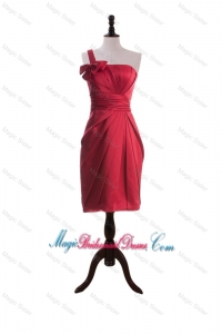 Wonderful Bowknot and Ruching Short Bridesmaid Dresses in Wine Red