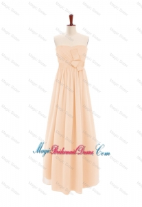 2016 Customize Sweetheart Bowknot Peach Bridesmaid Dress in Chiffon