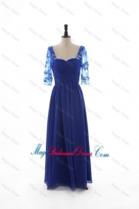 2016 Fall Formal Empire Sweetheart Ruching Bridesmaid Dresses with Half Sleeves in Blue