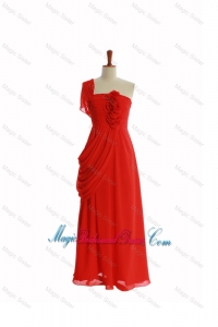 Beautiful One Shoulder Red Bridesmaid Dresses with Hand Made Flowers