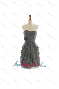 Brand New Hand Made Flowers Short Bridesmaid Dresses in Grey