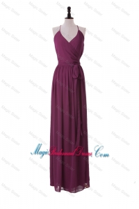 Custom Made 2016 Winter Sashes Halter Top Long Bridesmaid Dresses