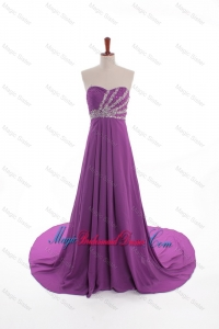Fashionable Beaded Court Train Bridesmaid Dresses in Eggplant Purple