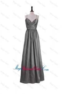 Gorgeous A Line Spaghetti Straps Bridesmaid Dresses with Belt in Grey
