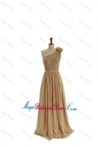 Gorgeous Belt and Hand Made Flower One Shoulder Bridesmaid Dresses