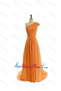 Gorgeous Ruching One Shoulder Orange Bridesmaid Dresses with Brush Train