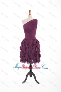 Inexpensive Burgundy Short Bridesmaid Dresses with Belt and Ruching