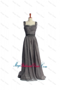 New Style Belt and Lace Grey Long Bridesmaid Dresses in Organza