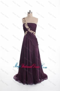 Brand New Appliques Sweep Train Purple Bridesmaid Dresses with One Shoulder
