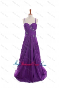 Cheap Appliques and Beading Eggplant Purple Bridesmaid Dresses with Sweep Train