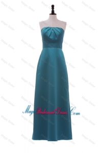 Classical Strapless Ruching and Bowknot Long Bridesmaid Dress in Teal