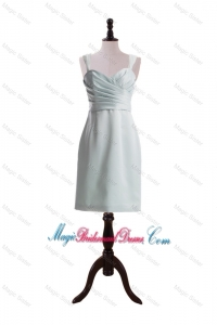 Custom Made Column Straps Short Bridesmaid Dresses with Ruching