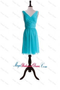 Custom Made Empire V Neck Prom Dresses with Sashes for Graduation