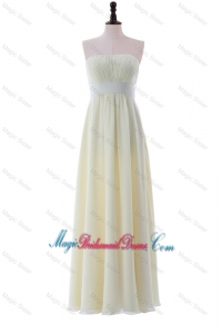 Empire Strapless Belt Cheap Bridesmaid Dresses with Ruching