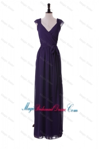 Exclusive V Neck Purple Bridesmaid Dresses with Ruching for 2016