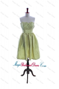 Exclusive Yellow Green Short Bridesmaid Dress with Ruching and Belt