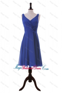 Royal Blue Hand Made Flower Short Bridesmaid Dresses for Holiday