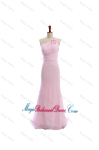 Simple Baby Pink Brush Train Bridesmaid Dresses with Hand Made Flowers