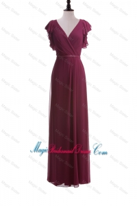 2016 Autumn Empire V Neck Bridesmaid Dresses with Belt in Burgundy