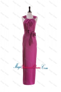 Cheap Straps Long Bridesmaid Dresses with Beading and Bowknot