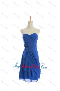 Customize Hand Made Flowers and Ruching Short Bridesmaid Dresses in Royal Blue