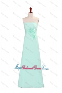Elegant A Line Strapless Bridesmaid Dresses with Hand Made Flowers