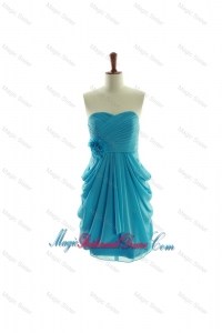 Exclusive Hand Made Flowers Short Bridesmaid Dresses in Aqua Blue