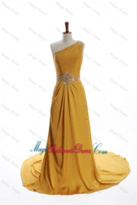 Exquisite One Shoulder Beading Gold Bridesmaid Dresses with Court Train