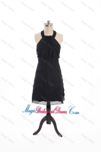 Fashionable Beading and Ruffles Short Bridesmaid Dress in Black