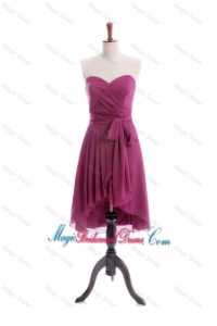Gorgeous 2016 A Line High Low Burgundy Bridesmaid Dresses with Sashes